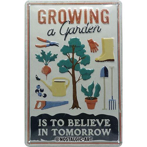 Nostalgic-Art 22323 Growing a Garden – Idée de Cadeau pour Amateurs de Jardinage, en métal, Design Retro pour la décoration, 20 x 30 cm