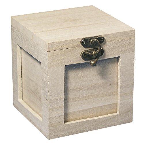 RAYHER 62265000 Holz- Fotobox FSC Mix Credit, 11 x 11 cm, 4 Fach mit Deckel