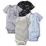 Gerber Baby Boys 4-Pack Short Sleeve Onesies Bodysuits, Hello Bear, 24 Months