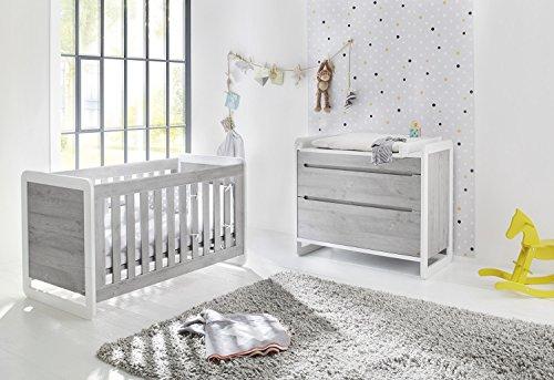 Pinolino 093440b 2 pièces, lit bébé, Largeur Commode avec table à langer, acier mat et revêtement, 140 x 70 x cm, frêne gris/Blanc