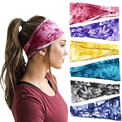 6Pcs Boho Headbands for Women Tie Dye Elastic Headbands Non Slip Sweat Headbands Workout Fashion Hair Bands Head Wrap Yoga Running Sports Cotton Headbands Hair Accessories for Women Girls