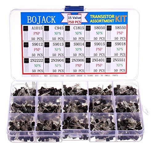 BOJACK 15 Valori 750 pezzi A1015 C945 C1815 S8050 S8550 S9012 S9013 S9014 S9015 S9018 2N2222 2N3904 2N3906 2N5401 2N5551 PNP NPN Kit di assortimento di transistor per uso generico