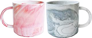 Sponsored Ad - Marbling Ceramic Coffee Mug Set of 2, Tea Cup for Office and Home, 13 Oz, Dishwahser and Microwave Safe (Pi...