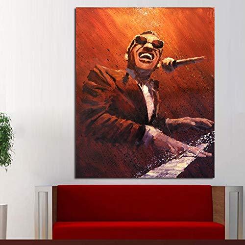 tzxdbh 20x30cmhot Venta Pura Pintada a Mano Moderna Abstracta Pinturas al óleo Cuadros de Pared en Lienzo Ray Charles Pianist Arte de Pared para decoración del hogar sin Marco