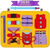 DigHealth Busy Board Montessori Spielzeug, Frühpädagogisches Lernspielzeug für Lernen Grundleben Kleidungsfähigkeiten, Beschäftigtes Brett für Kleinkinder 1 2 3 4-jährige