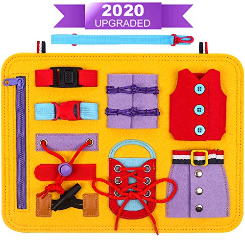 DigHealth Busy Boards for 1 2 3 4 Years Old, Preschool Educational Toys for Kids Learning Basic Motor Skills, Montessori Activity Board with Zippers, Buttons, Buckles, Braids for Airplane, Car or Home