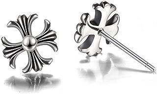 Helen de Lete Vinatge Chrome Heart Cross 925 Sterling Silver Stud Earrings