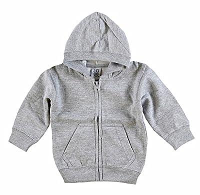 Kiddy Kats Baby Hooded Sweatshirt Cotton Full Zipper Infant Hoodie with Kangaroo Muff Pockets Steel, 6 Months