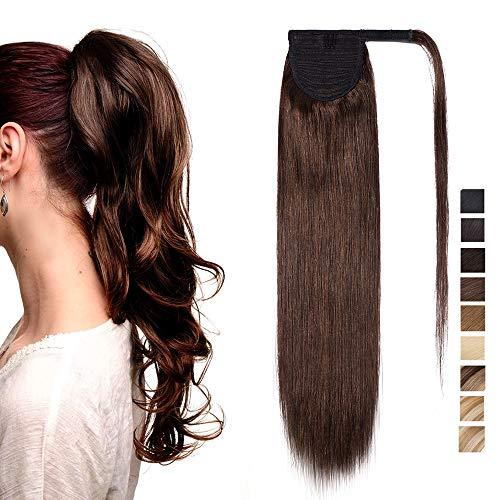SEGO Extension Coda di Cavallo Capelli Veri Clip Fascia Unica 100% Remy Human Hair Umani Lisci Naturali Ponytail Extensions Aderire 35cm-80g # Castano Cioccolato