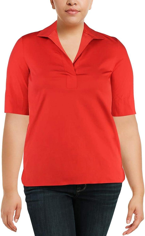 Lafayette 148 New York Womens Daley Short Sleeves Office Wear Blouse