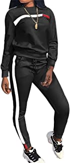 Womens Stripe Patchwork Two Piece Sweatsuit Cowl Neck Pullover and Skinny Long Pants