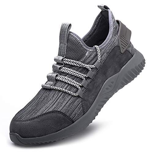 Arbeitsschuhe Damen S3 Grau 38 mit Stahlkappe Schutzschuhe Unisex Kevlar Frauen Sicherheitsschuhe Leicht Sportlich Sneaker Outdoor Atmungsaktiv Stylisch Trekkingschuhe für Kinder Jungen