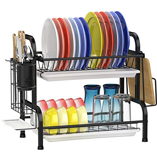 Dish Drying Rack, GSlife Stainless Steel 2 Tier Dish Rack with Drainboard Utensils Holder, Rustproof Dish Drainer for Kitchen Counter, Black