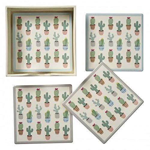 Transomnia - Set di 4 sottobicchieri in ceramica con cactus