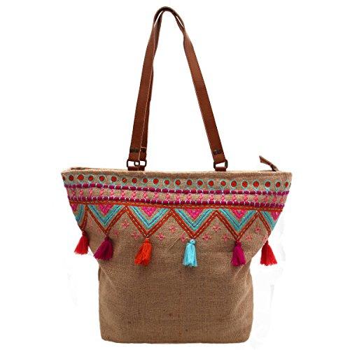 Gall&Zick Tasche Jute Tragetasche Leder Schultertasche Shopper Damentasche Strandtasche Bunt Bestickt Boho (SHT-151)