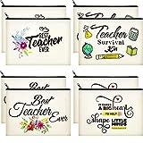 8 Pieces Teacher Appreciation Bags Teacher Makeup Bags Canvas Pouch Zipper Teacher Survival Kits Travel Toiletry Cases Teacher Cosmetic Pencil Bag Kit for for Women School Accessories, 4 Patterns