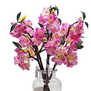 LSME 5pcs Artificial Cherry Blossom Flowers with Long Stems for Arrangements Wedding Table Vase Office Home Decoration