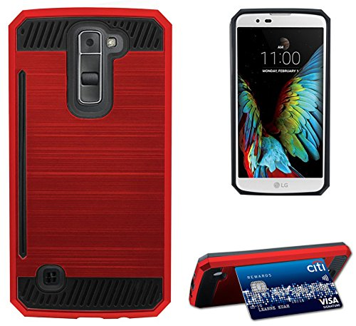 RED Brushed Metal Design Shell CASE Rugged TPU Rubber Hard Cover with Card Stand for LG K7 and LG Tribute 5 (LG LS675, LG MS330, Sprint, MetroPCS, Boost Mobile)