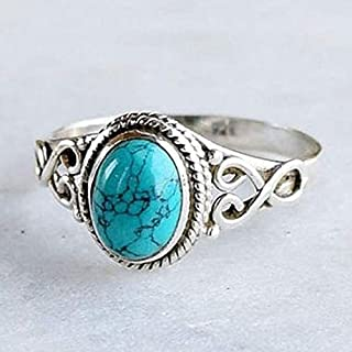 ZHX Genuine Women's 925 Sterling Silver Ring Oval Cut Natural Bohemia Turquoise Jewelry Birthday Proposal Hollow Engagemen...
