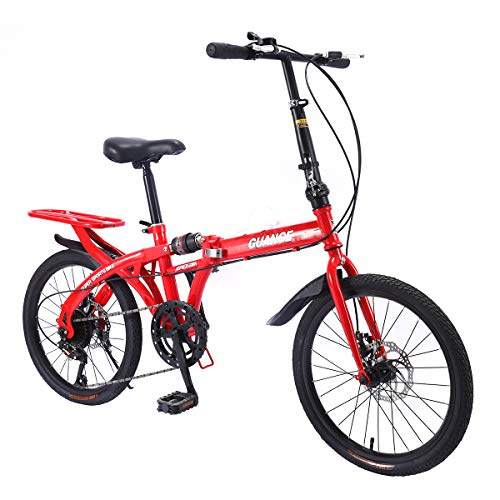 R.ROARING Mountain Bike for Teens Adult 7 Speed Gears Folding Outroad Bike 20 inch Dual Disc Brake Bicycle Red Ship from US