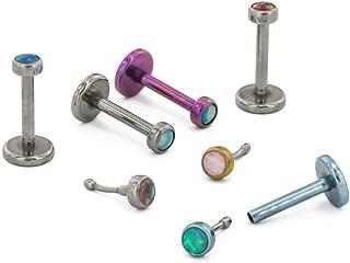 Painful Pleasures 16g Titanium Push Pop Labret with Bezel-Set Opal - Price Per 1