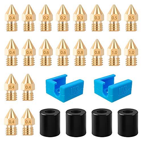 SOOWAY Muelle de silicona niveladora Boquilla de latón MK8 de 18 mm Calcetín de silicona Hotend Kit para plataforma de impresora 3D Extremo caliente