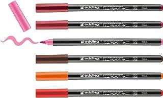 edding 4200 porseleinstift - diverse kleuren - 6 pennen - penseelpunt 1-4 mm - viltstift voor het schilderen en decoreren ...