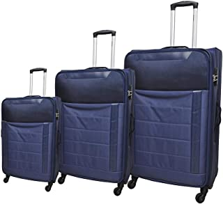 Track Fabric Luggage Trolley Bag, 4 Wheels, 3 Pieces - Navy