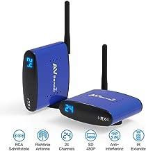 Compatible with DVD//DVR//CCD Camera//IPTV//Satellite STB//Digital TV STB Tangxi 24-Channel 5.8GHz AV Wireless Transmitter Receiver Sender Audio Video 200m Transmission