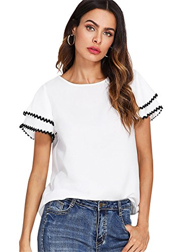 Floerns Women's Layered Ruffle Lace Trim Short Sleeve Blouse Tops White XS