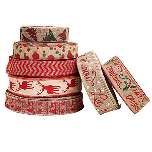 Amosfun 7 Stück Weihnachten Sackleinen Band Stoff Urlaub Sackleinen Band Jute Sackleinen verdrahtet Band Geschenkverpackung für Hochzeit Weihnachten(Zufällig)