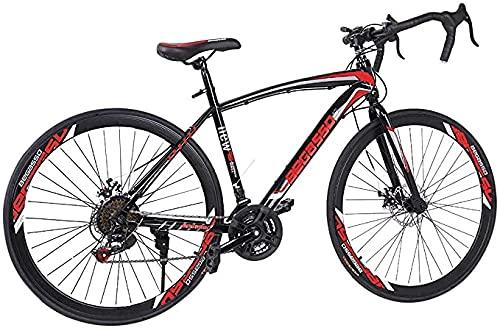 LXMTing Bicicletas de Carretera para adultos21 Speed Road Bike 700C Wheels Road Bicycle, Freno de Doble Disco y Acero Altamente Carbono Adecuado para Hombres y Mujeres,B
