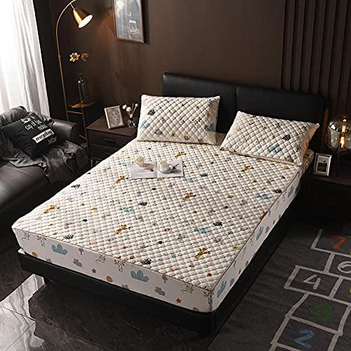 XGguo Protector de colchón - Protector de colchón antialérgico Sábana más Gruesa Antideslizante de una Sola Pieza-9_90 × 200cm