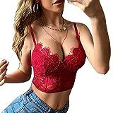 REDWOON Women's Deep V Neck Floral Lace Cami Crop Top Bralette (Wine red, L)
