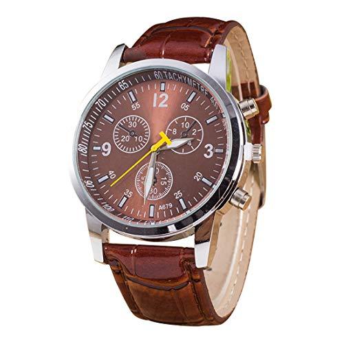 Uhren Dial Luminous Runde 3 Dekoration Dials Unisex-Quarz-Uhr mit PU-Lederband (schwarz) Asun (Color : Coffee)