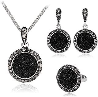 Luxurious Round Black Rhinestones Necklace Ring Earrings Silver Plated Jewelry Set