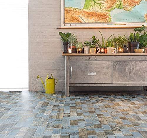 PVC Bodenbelag in Vintage-Optik, blau (9,95€/m²), Zuschnitt (2m breit, 3m lang)