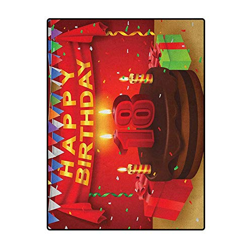 18th Birthday Soft Indoor Modern Rugs Carpet Sliders for Exercise Carpet for Rooms 18 Happy Birthday Party with Curtains Cakes Baloons Adulthood Image Red and Burgundy 6.5 x 8 Ft