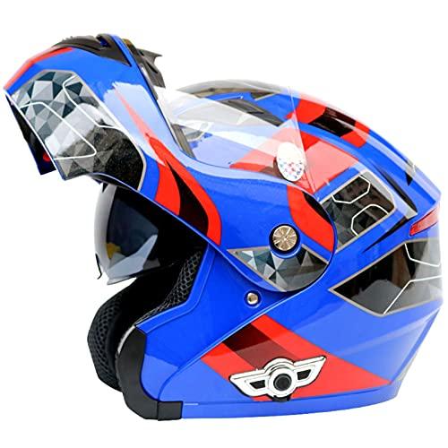 ZPTTBD Bluetooth Casco Moto Modular Certificado ECE Cascos de Moto Integral Hombre Mujer con Doble Visera para Motocicleta Scooter, Casco Moto con Bluetooth Integrado (Color : D, Size : (XL/61-62CM))