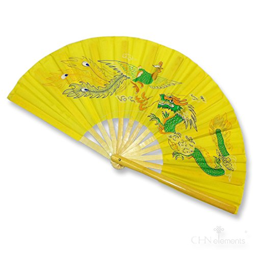 CHN Elements.accessories FD-DP5-Bamboo Folding Fan/Tai Chi/Kung Fu/Martial Arts & Dancing Fan with Oriental Pictures on-dragon&phoenix-yellow