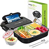 MaMahome Bento Box, Bento Lunch Box for Adults, Lunch Container, BPA-Free and Food-Safe Materials, Leak-Proof Divided Stainless Steel Food Container - 54 oz (Black - 3 Grid)