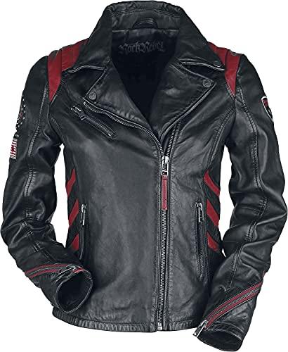 Rock Rebel by EMP Schwarz/Rote Lederjacke im Biker-Stil mit Patches Mujer Chaqueta de Cuero negro/rojo 4XL