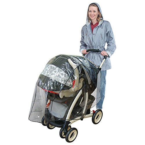 Jeep Travel System Weather Shield, Baby Rain Cover, Universal Size to fit most Travel Systems, Waterproof, Windproof, Ventilation, Protection, Shade, Umbrella, Pram, Vinyl, Clear, Plastic