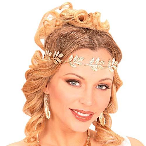 NET TOYS Encantadora Corona de Laurel Diosa Antigua - Dorado - Adorable Accesorio Unisex para Disfraz Corona de Hojas de Laurel con Banda de Goma para Adulto Fiestas temáticas y Carnaval