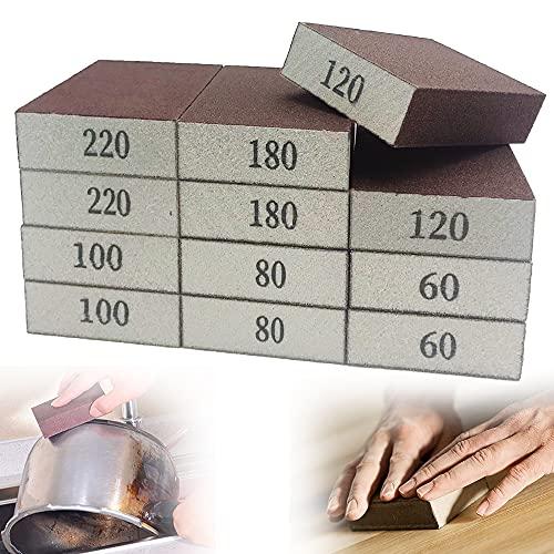 12 Pack Sanding Sponges,Coarse Fine Sanding Blocks in 60/80/100/120/180/220 Grits,Sand Foam Sandpaper for Metal,Wood Polish,Pot Brush,Washable and Reusable