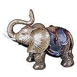 SY-Home Escultura De Estatua De Elefante, Adornos De Decoración De Escultura De Elefante Indígena De Cerámica Regalos De Inauguración De La Casa Decoraciones para El Hogar 17 * 7 * 14.5 Pulgadas