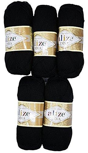 Alize 5 x 100 Gramm Wolle Diva Batik schwarz Nr. 60, 500 Gramm merzerisierte Strickwolle