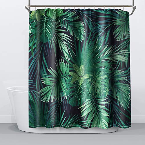 NIBESSER Duschvorhang 180x180 Textil antischimmel Wasserabweisend Shower Curtain mit 12 Duschvorhangringen 3D Digitaldruck Grüne Pflanzen