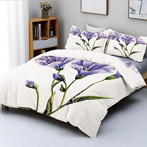 Juego de funda nórdica, dibujo de flores silvestres con tema romántico de verano, arte decorativo de la madre tierra, juego de cama decorativo de 3 piezas con 2 fundas de almohada, blanco violeta verd