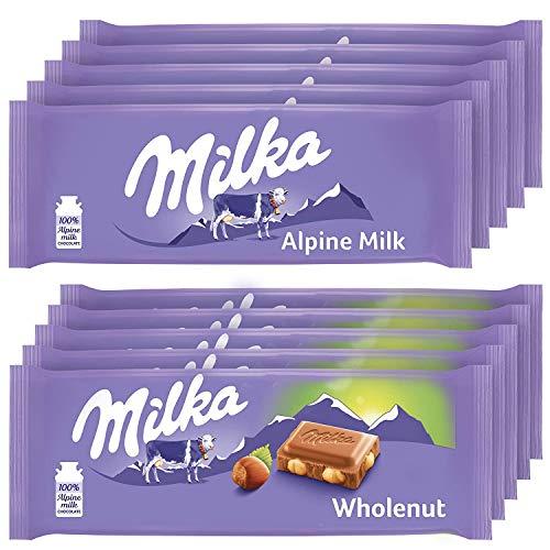 Milka European Chocolate Bars Variety Pack, Alpine Milk Chocolate & Wholenut Hazelnut Chocolate, 10 - 3.52 oz Bars